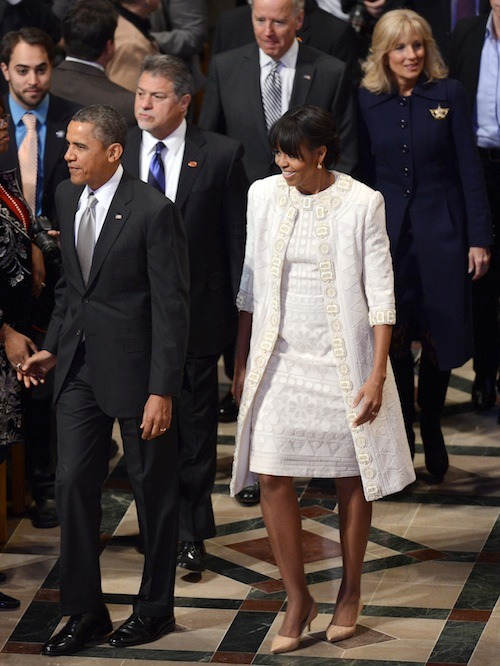 First Lady Michelle Obama Chooses White Naeem Khan Jacket and Dress for National Prayer Service