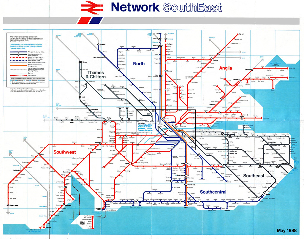 Historical Map: British Rail Network SouthEast, 1988 Network SouthEast was an operating division of British Rail that was formed in 1982 (although it was known as London & South Eastern until 1986). It was responsible for inter-city and commuter rail for the densely-populated south east of England, including London. Of course, beginning in 1994, Network SouthEast was privatised along with the rest of British Rail, leading to the convoluted network of private rail companies we see today. But what we have here is a very handsome network map, which obviously owes a great deal to the London Underground map, but has enough of its own identity to stand alone. This is mainly achieved by the removal of the Underground's distinctive Johnston Sans typeface, replaced with what looks like a condensed Helvetica or similar Gothic face. The map is broken down into six regions, which are cleverly shown by only using three repeating colours (red, blue and grey): this prevents the map from looking too rainbow-like and gives it a more corporate feeling. A fourth colour — orange — is used to show the brand-new ThamesLink service running north-south through London. The London region itself only shows main terminals and connecting stations: a more detailed map of this area is shown on the reverse of this map: this keeps the map clean and uncluttered. About the only real problem I have with this map is the colour of the water, which is almost exactly the same as the blue type that is used to denote connecting ferry services and ports. For example, there's a ferry to France from Newhaven Harbour, but it's very difficult to make that out. Our rating: An excellent example of mid-1980s map design (remember: this is still before computers entered the design field, so a map of this complexity was quite an undertaking). Four stars.  (Source: smallritual/Flickr)