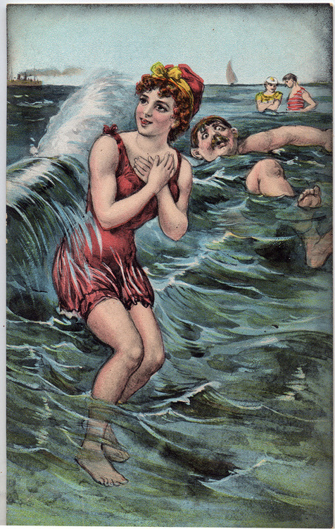 adventures-of-the-blackgang:  bathing belle vintage postcard (1379 x 2171)