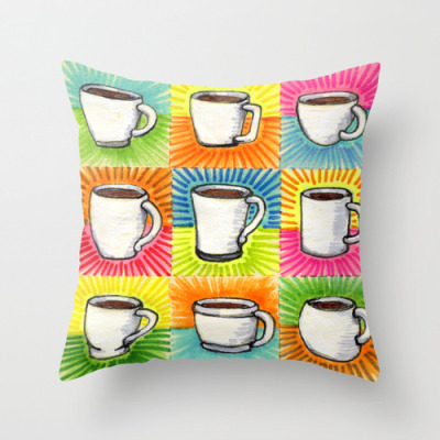 I drew you 9 little white mugs of coffee -The Pillow! For some reason this little drawing just needed to be on a pillow. Also find Art Prints, iPhone Cases, iPhone/iPod Skins, and Stationary Cards with the art on it. Buy It Here