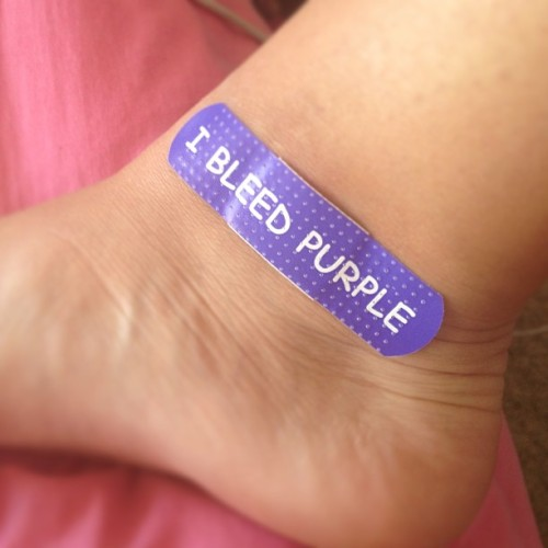 Hurt myself. This was the only bandaid I could find. #legit #bleedpurple #kstate