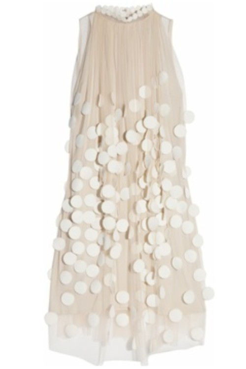 blueberrymodern:  stella mccartney - white paillette overlay dress - fall 2011 (ivory crepe with sheer overlay and white spots)