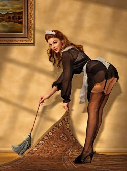 This makes me think of @cfboxxx #maid #stockings #heels #art pinupgirlsart:  (via Chris Clor: Pin Up and Cartoon Girls)