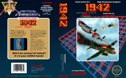 "NES Box Art: 1942 Released Dec 11, 1985 (JP) 1986 (US) 1942… you and daring fighter pilot ""Super Ace"" are engaged in realistic, thrilling and challenging high-flying battles with the enemy.  Over land, on the sea and in the air, your own skill and dexterity… combined with Super Ace's flying mastery, duel enemy pilots in fighter and bomber craft.  1942… it's airplanes taking off and landing on ocean-going aircraft carriers… disrupting enemy formations ready to attack… intercepting enemy air-warriors you must defeat by ""blasting 'em out of the sky."" Will it be victory? Or defeat? It's in your skillful hands! Gameplay 