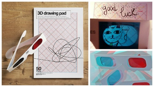 UNIQUE & QUIRKY 3D DRAWING PAD & GLASSES     3D films are all about the cinemas these days, but who says we have to leave our glasses there? With this unique and quirky pad you can draw your own designs 3D - the blue and red pattern on the pages allows anything you drink in black ink to pop right out of the page! The pad comes with 50 sheets of 3D-ready paper It's fun and it's geeky, kids will love it…and we bet even the most established artists will too! www.facebook.com/junkfunkshop