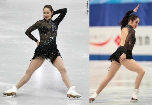 This bra situation is really ugly. Kaetlyn Osmond skating her mambo short program at the 2012 Skate Canada and 2013 Four Continents Championships. Sources: 1 and 2.