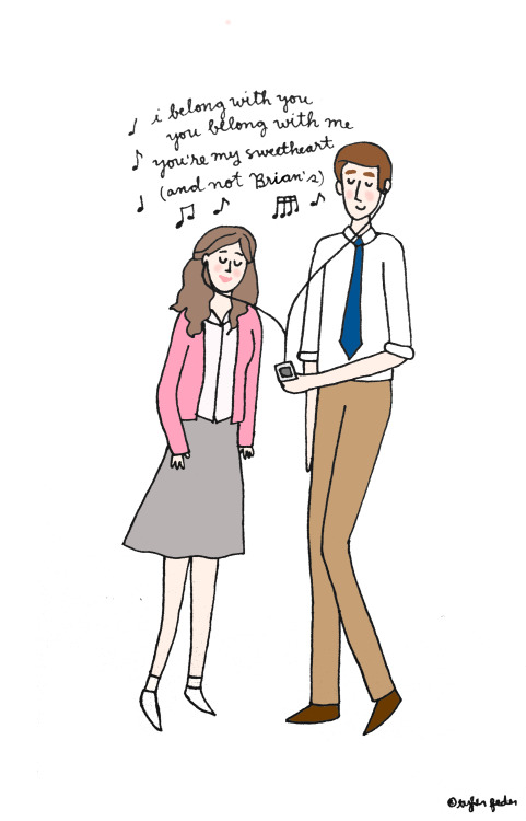 "Jim and Pam for dmbanthony and julietburkes! (by Tyler Feder) * Hey tumblr pals!  I'm 1 sale away from February 2013 being my most successful month in my Etsy shop.  Wanna help a girl out?  If you mention the secret password ""toothpaste"" in the Notes to Seller section, I'll throw in a free surprise 5x7 print with your order!"