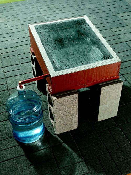 epochalsociety:  DIY Solar Still Make your own distilled water and other liquids using these DIY solar still plans. PDF diagram [link] Article [link] Source: M.E.N.