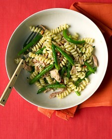 …and the small box has delicious young, green beans. Pasta with Green Beans and Tuna  http://www.marthastewart.com/332879/pasta-with-green-beans-and-tuna   Coarse salt and ground pepper   84gm fusilli or other short past 56gm green beans, trimmed and halved  1 can chunk light tuna, packed in water, drained  1 tablespoon extra-virgin olive oil  1 tablespoon natural almonds, chopped and toasted  2 teaspoons chopped fresh parsley  1/2 teaspoon grated lemon zest, plus 1 teaspoon lemon juice  1 small garlic clove, minced        In a large pot of boiling salted water, cook pasta according to package instructions, adding green beans 1 minute before end of cooking. Meanwhile, in a medium bowl, combine tuna, oil, almonds, parsley, lemon zest and juice, and garlic; season with salt and pepper. Drain pasta and beans and add to tuna mixture. Stir to combine     Serves 1