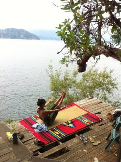 Yoga bliss at the lake