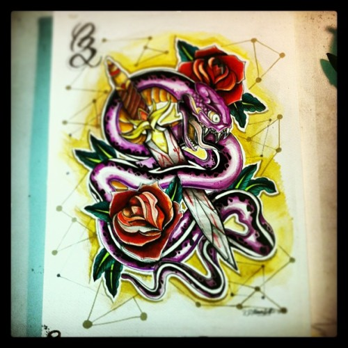 Snake #snake #design #tattoo #flash #final #paint #cimonsattiaux #