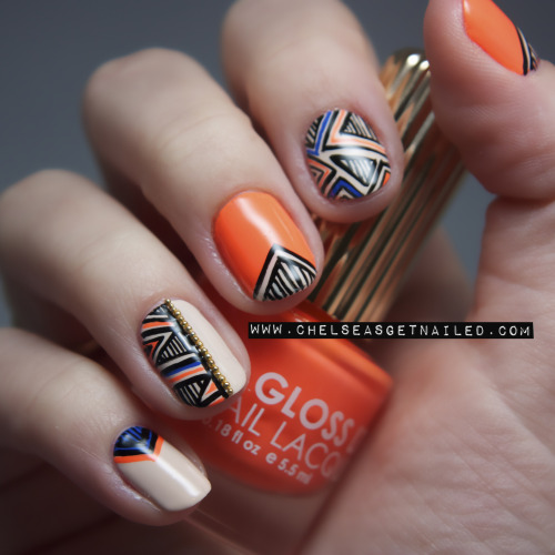 getnail-d:  New nail design up on the blog! Used OPI, Floss Gloss, Cult Nails, and Essie for this.