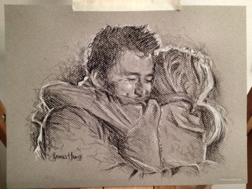 jameshance:  Latest Doodle - 'Ten & Rose' I just drew another one :) I'm far too excited about charcoal! Charcoal is my new greatest and best thing! and yes, I do absolutely look like Bert from Mary Poppins right now. Oh ba-low me a kiss, and thas' lucky too! <3My site / My Facebook / Original Art on eBay
