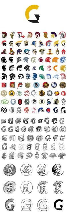 logodesignclub:  Case Study: Centurion Logo Design - Basically… All the Gladiator Helmets Ever Logo Design