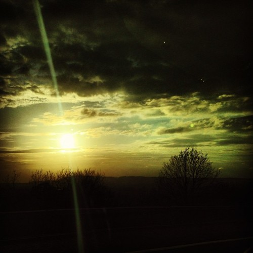 First #cloudporn of 2013! Driving home from #Brighton #clouds #sky #sunset #dusk #rays #sun