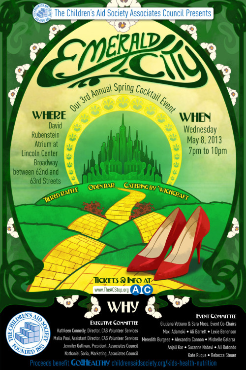 Upcoming Spring Cocktail Event with Children's Aid Society, Emerald City! Check out these sweet graphics I made for their invite. Awwww yeah. And while you're checking it, get on it and buy a ticket or donate. All for a great cause! Join us! Cheers.