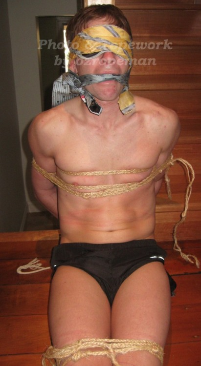 Found a use for my old silk ties, not to mention some rope and a hot young Aussie bloke tied up by me. #malebondage#gaybondage