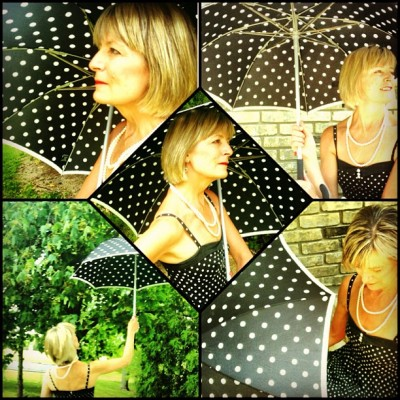 My #mother is the perfect #muse @bigdealdawsonsr #umbrella #polkadot #dress