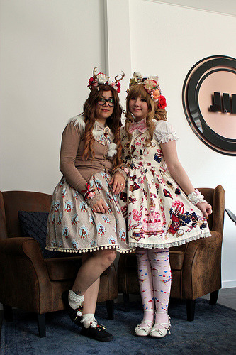 Saltje and Fanny at the April Belgian Cupcakes Lolita fashion meet.   Antwerp - Belgium - 14.4.2013