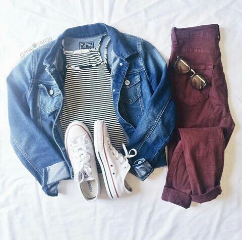 ootd denim jacket striped crop top converse white converse skinny jeans maroon skinny jeans hipster fashion indie fashion fashion clothing beauty lifestyle
