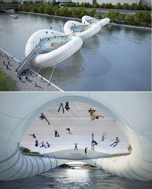 buoy and trampoline bridge over the Seine river in Paris, France…