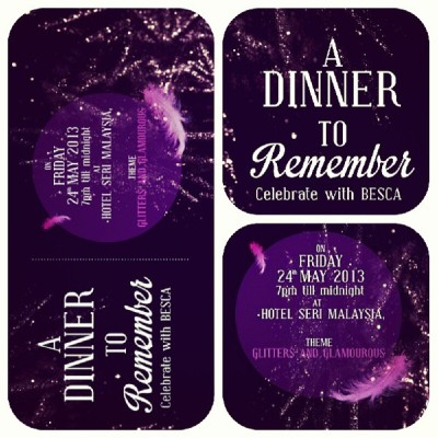 A Dinner To Remember celebrate with BESCA on 24th May 2013 at Hotel Seri Malaysia Kangar cc @azreqmahson #invitationcard #unimap #ppipt #besca #dinner #friday #240513 #hotel #hotelserimalaysia #malaysia #remember #celebrate #theme #glitter #glamourous #purple #secretariat #may #party #instaplace #instalike #instamood #instapic #instadaily #instacool #instagood #instafood #instagrammers #instamania #instaphoto #photooftheday  (at Hotel Seri Malaysia Kangar)