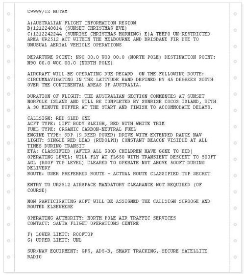 milehighsex:  So Airservices Australia has just released a Notice to Airmen (the document that pilots have to read before every flight) to watch out for an unusual red aircraft powered by deer in Australian airspace tonight.