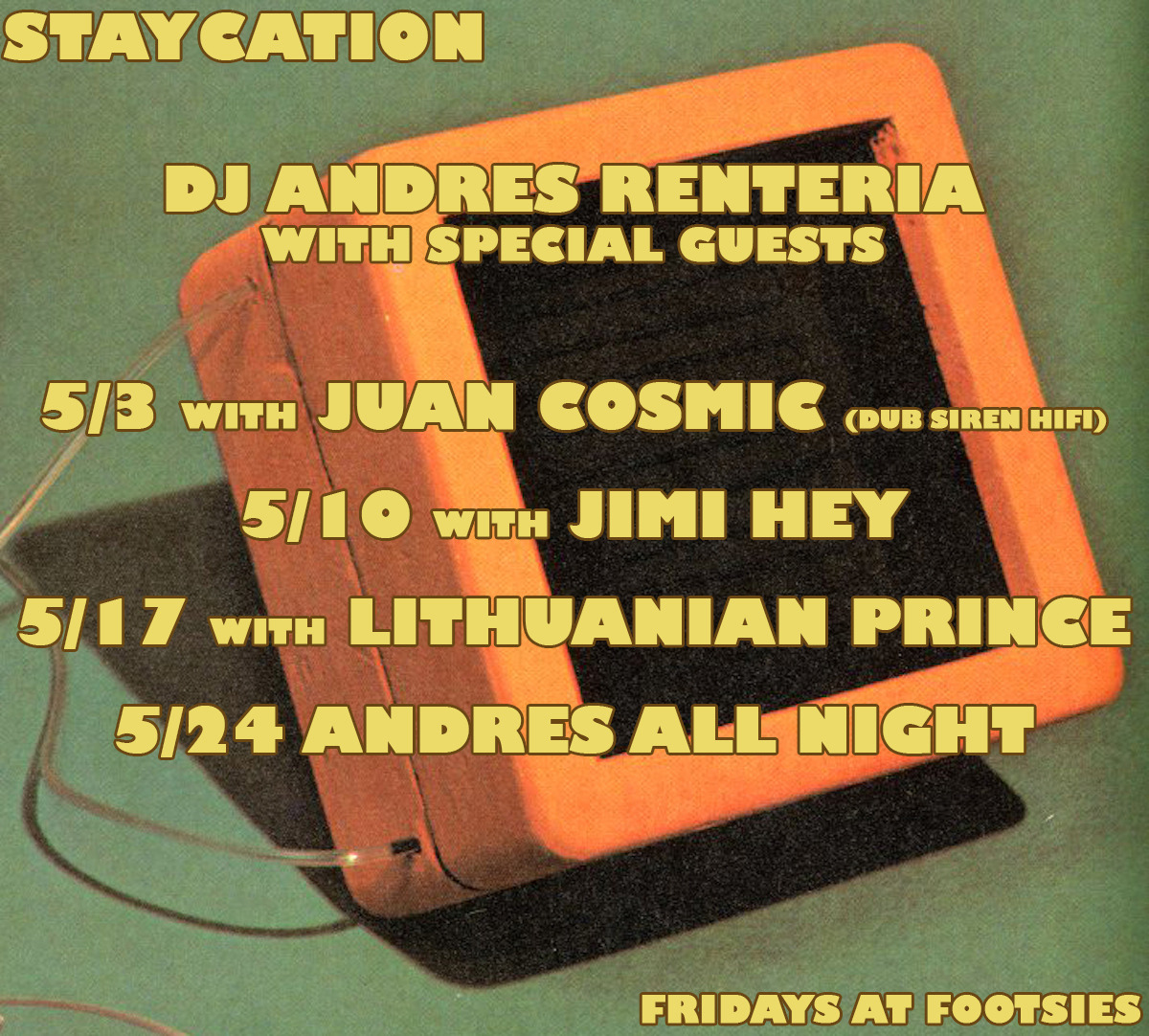 Tonight at Footsie's Bar, I'll be spinning records with one of my oldest friends, Juan Cosmic from the Dub Siren HiFi Soundsystem!!  He'll be bring in lots and lots of original Jamaican 45s from the 60s and 70s.  Sure to please…10pm-2am at the best bar in Los Angeles.  I'll be spinning soul, rock, international shakers, funky 45s, and more!!!!!