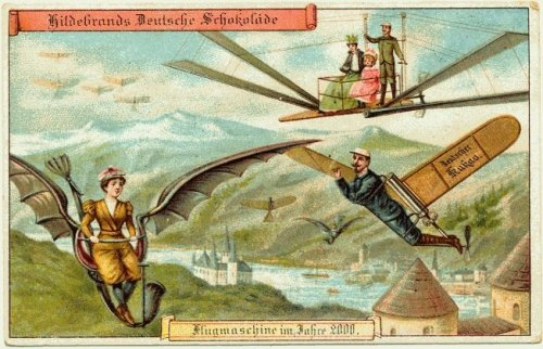 weirdvintage:  Personal Flying Machines—A postcard circa 1900 of their expectations of life in the year 2000 (via Retronaut)  .
