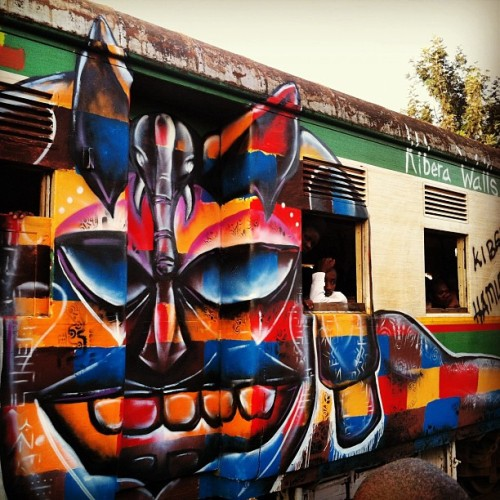Nairobi Train Art! Kibera Walls for Peace youth arts project; joelB + local graf artists