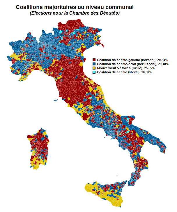 Italian elections results of the lower house. (In French, but transparent)http://daily-infographic.tumblr.com/