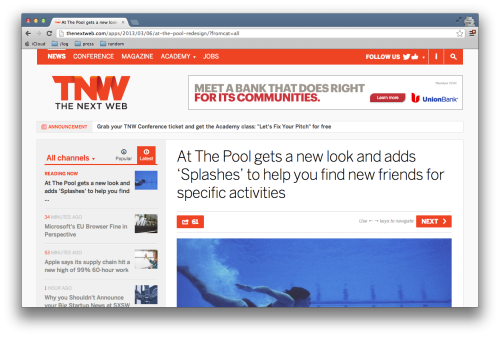 With a major launch in new product features, check out The Next Web's coverage at http://thenextweb.com/apps/2013/03/06/at-the-pool-redesign/.
