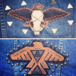 Fossil & Hide custom hand stitched patches for your leather or denim, $150. Email us fossilandhide@gmail if interested