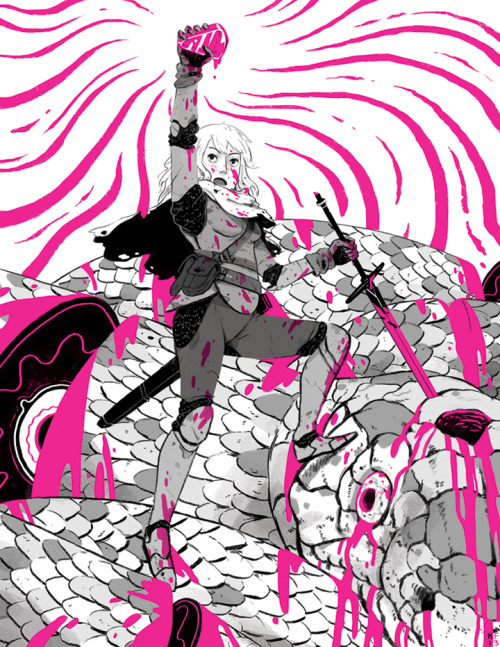 fattydingdongs:  kylefewell:  My piece for the LADY KNIGHTS//WOMEN WARRIORS Zine being done by Abby Boeh, Roxie Vizcarra and Julia Scott. Its gonna be sold at MoCCA (April 6th and 7th). I really wanted to draw a snake, lots of blood and a cute girl-warrior. The best things.  KYLE THE BEASTSLAYER so great lookit that rad gem she got