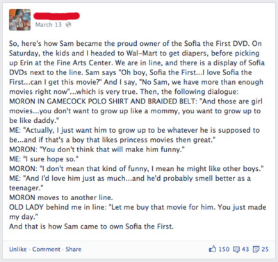 gaywrites:  In which a dad stands up for his son when the toddler asks for a princess movie at Wal-Mart. Amazing. (via The Advocate)
