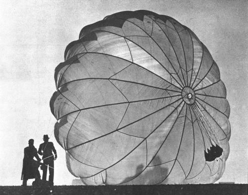 bartleby-company:  Backlit photo showing the design of the Irving parachute. Margaret Bourke-White for Life Magazine, 1937.
