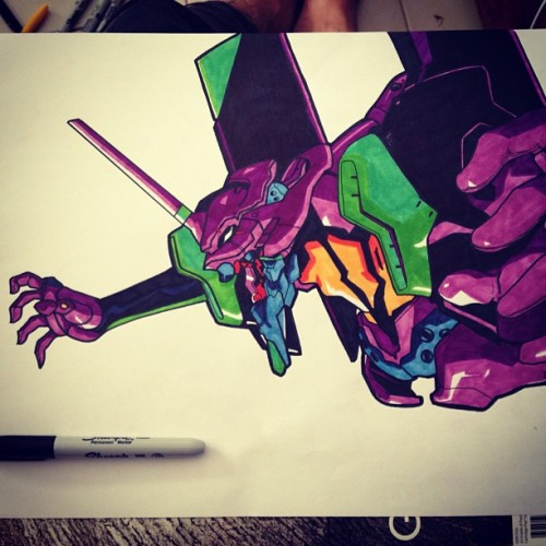 ifwelastthroughthewinter:  Evangelion unit 01 #art #drawing #sharpie #neongenesis #unit01