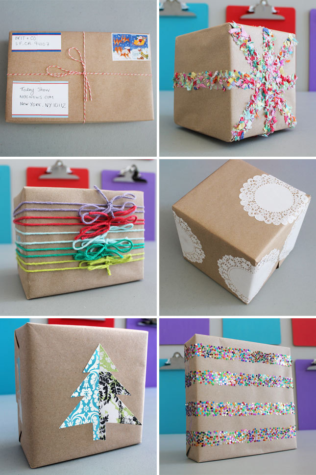 How pretty are these brown paper packages (tied up with string)?More ways to become a wrap star here.