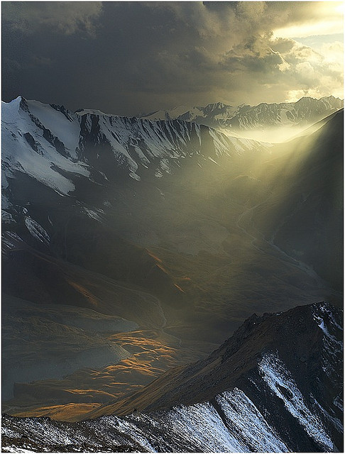 the-absolute-best-photography:  Light in the Dark, Altay Mountains, Kazakhstan (by Vasca de Sole). You have to follow this blog, it's really awesome!