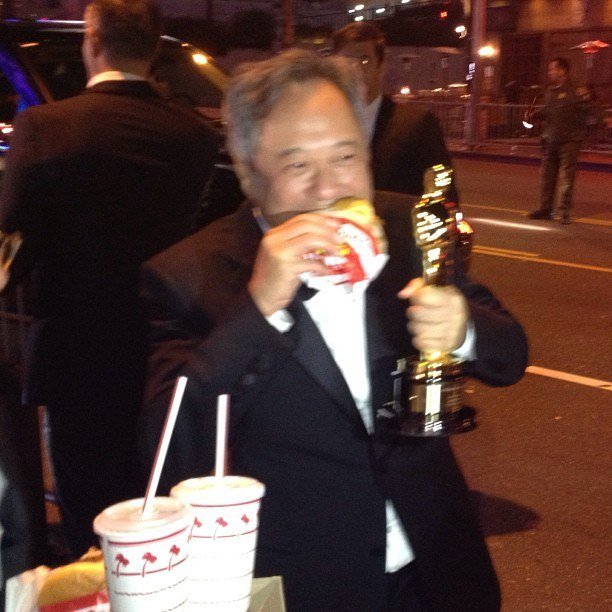 Of all the Oscar tumbles this shot of Ang Lee is my favorite (at In and Out burger) We celebrated Oscar night in our apt by vying for a Starbucks gift card with our Oscar predictions. I won, because I successfully guessed 10/15. (This was fitting because I had organized the whole thing and purchased the card to begin with.) Luckily, my roommates are well-acquainted with my eccentric craft projects so when I asked them to wear paper ties (that I made so they would meet the Oscars black tie dress code standards) they consented.