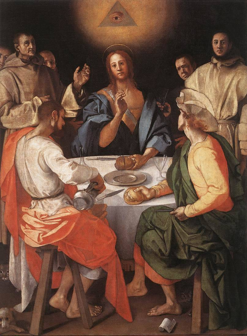 elespiritusantoamen:  Eye of God in Supper at Emmaus by Jacopo Pontormo, 1525