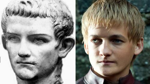 "tbanando:  ""On the left, the Emperor Caligula, one of the most famous - and notorious - rulers of ancient Rome. On the right, Jack Gleeson as Joffrey in the Game of Thrones TV series."""
