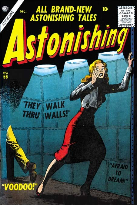 Eerie Joe Maneely cover to Astonishing #56. Had Maneely lived, we might be talking ablout Kirby, Ditko and Maneely as the founders of modern Marvel.