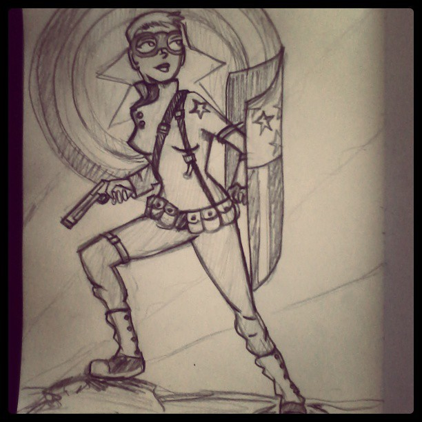 My #rule63 Captain America I drew for last night's drink and draw contest. #drinkndraw #captainamerica #art #genderbend #rule63 #illustration #comics #marvel #drawing #comicbook