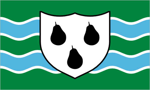 "Worcestershire, since 2013 A new flag for Worcestershire was raised at Worcester cathedral last Monday. It features a local pear variety called the black Worcester, which has been a symbol of the county since the middle ages. The background of the flag symbolizes the rivers and hills that run through the county. Interestingly, the shield in the centre of the flag isn't a ""real"" coat of arms, although it does look a bit like the arms of the city of Worcester. (designer: Elaine Truby)"