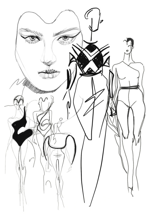 Gindi Fashion week Tel Aviv Illustration by Shira Barzilay for the Alon Livne fashion show