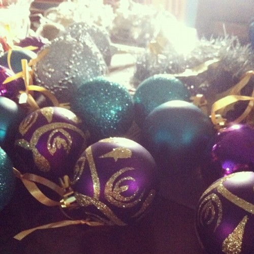 Christmas decorations, always a joy! #christmas #balls #decorations #purple #gold #silver #green
