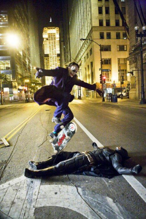 Photoshop For Fun: Joker Skating Over BatmanToday's image shows an outtake from filming, with Heath Ledger doing a pretty sweet trick right over Batman. Do we really need to explain why this is awesome? Great work, Internet. Whoever made this wins the Internet for today. Take it, you glorious person.