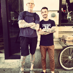 Posing with Mike Giant in DTLA yesterday.