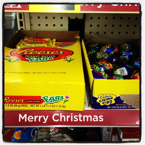 brittanijadeh:  The irony. #MerryChristmas #easter #eggs #funny #ironic (at Dollar General)